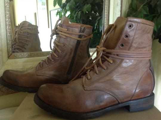 FREEBIRD by Steven Combat Black Leather/Suede Zip Tan Leather/suede Boots Image 3