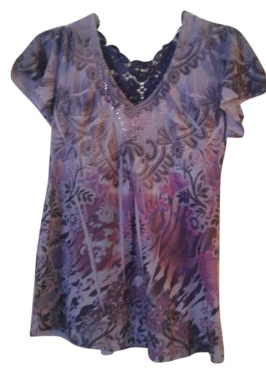 Unity World Wear Purple Multi Peasant Style Top - 37% Off Retail hot sale 2017