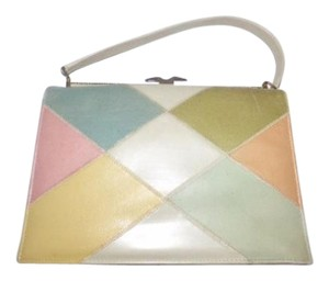 Naturalizer Early Mod Kelly Style Top Handle Excellent Vintage Satchel in pastel color block faux leather