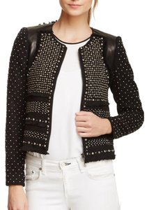 NWT! Rebecca Taylor Black leather & tweed studded jacket Size 10 Black Blazer