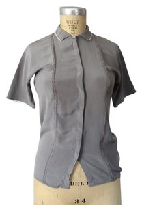 Les Copains French Silk Button Up Top Grey