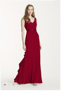 David's Bridal Apple (Red) Sleeveless Chiffon Dress With Ruffled Back Detail - F15530 Dress