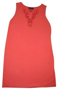 Dana Buchman short dress Pink Coral Sleeveless Beaded Shift on Tradesy