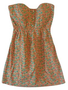 Judith March short dress Orange Strapless Floral on Tradesy