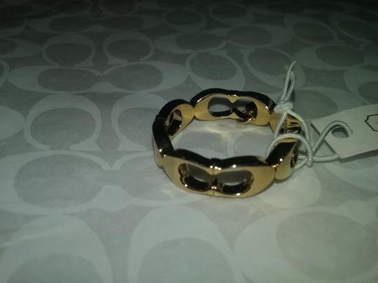 Coach LAST-Understated Sophistication-Signature 'C' Link Gold Tone Ring