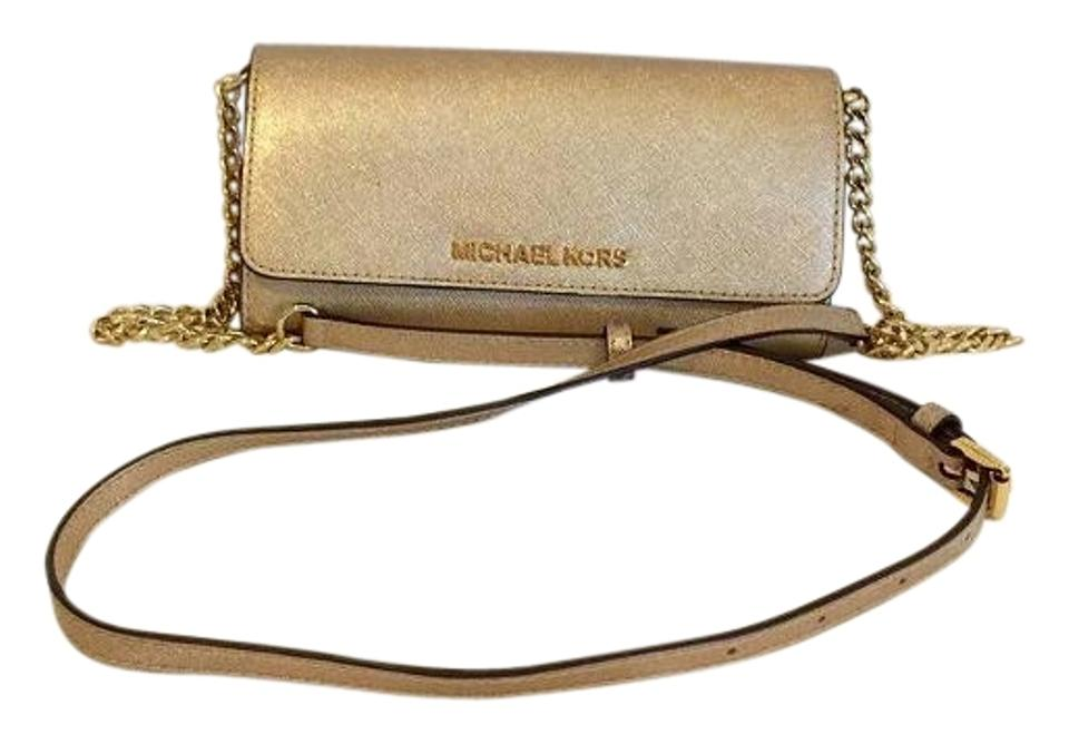 39a73cfd82b5 MICHAEL Michael Kors Jet Set Travel Wallet On A Chain Gold Saffiano Leather  Cross Body Bag