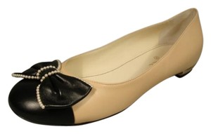 Chanel Gold Trim New Classic Style Beige & Black Flats