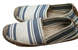 Tory Burch Espadrille awning stripe ivory and blue Flats