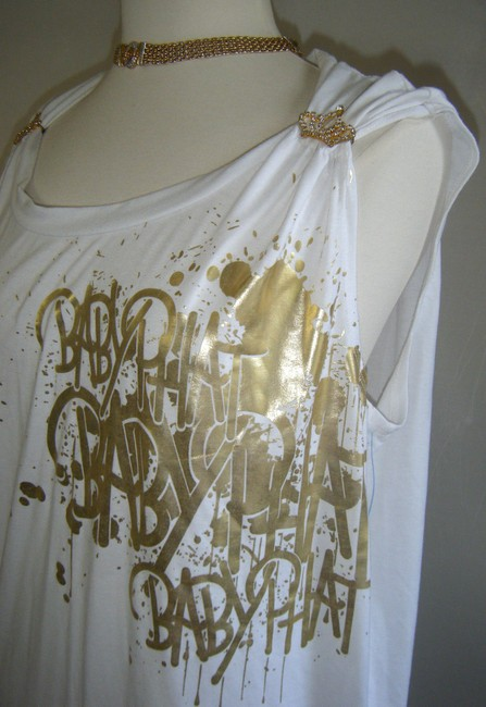 Baby Phat T Shirt WHITE W GOLD