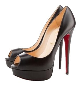 Christian Louboutin Lady Peep Heels Black Platforms