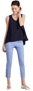 Anthropologie Cropped Pant Capris Blue and off white