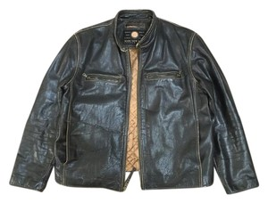 Andrew Marc Leather Distressed Brown Leather Jacket