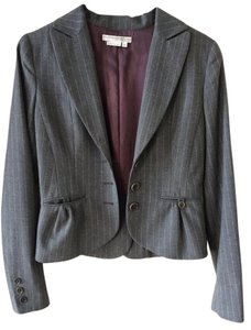 To the Max Scalloped Pinstripe Grey Blazer