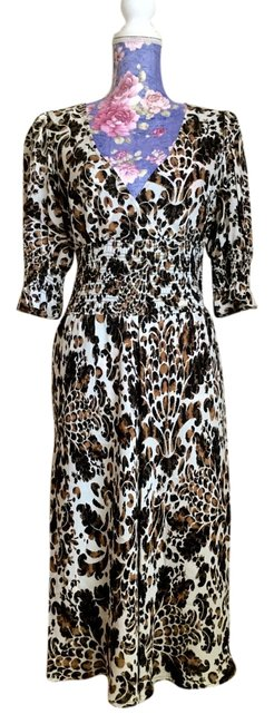 Item - Brown Tan and Beige Leopard Print Silk Long Work/Office Dress Size 8 (M)