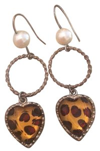 Betsey Johnson Cute Leopard and Pearl Betsey Johnson Earrings