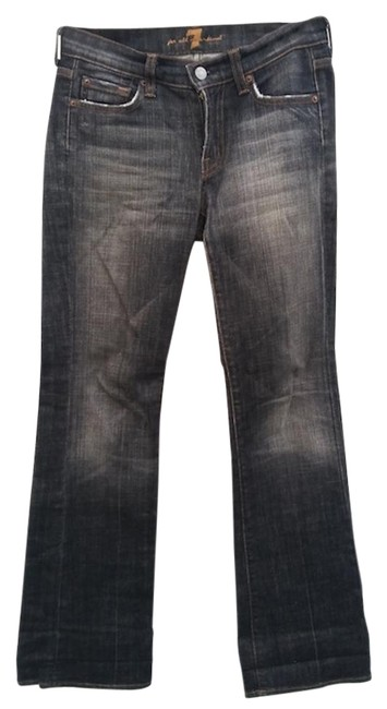 Preload https://img-static.tradesy.com/item/18764497/7-for-all-mankind-black-distressed-flare-leg-jeans-size-25-2-xs-0-1-650-650.jpg