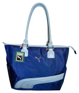 Puma Sport Zipper Close Nylon Travel Tote in BLue two tone