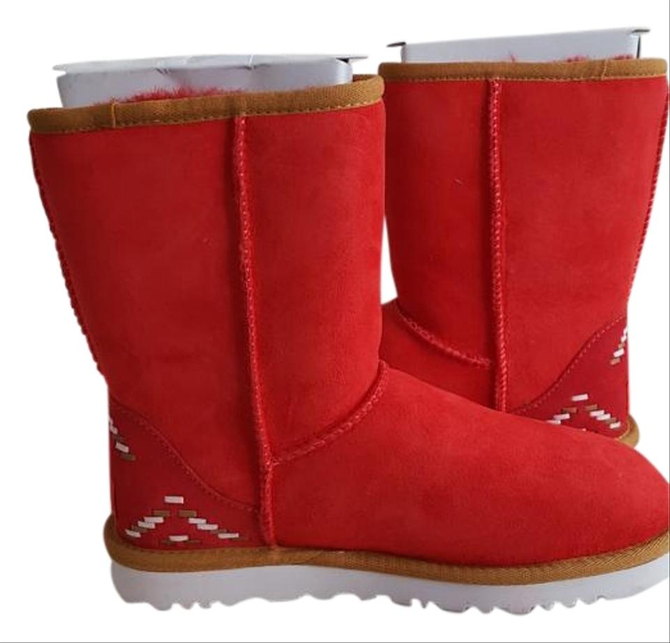 33586b29856 UGG Australia Red Classic Short Rustic Weave Genuine Shearling Fur  Boots/Booties Size US 6 26% off retail