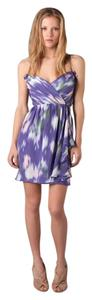 Shoshanna short dress Purple Print Ruffle Silk on Tradesy