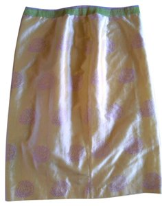 Mariann Koolman Silk Lined Skirt Light Green with Purple Accents