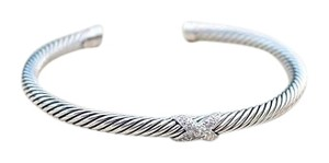 David Yurman X Bracelet with Diamonds: Sterling Silver Cable Classic Style