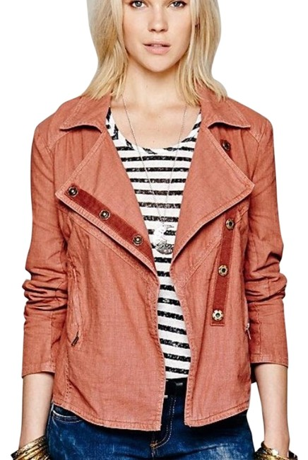 Item - Rosewood Red/Brown Washed Linen Moto Militaty Spring Women S Jacket Size 4 (S)