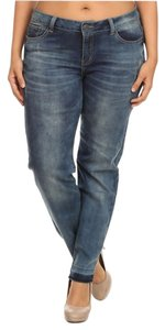 Emperial Premium Contrast Hem Distressed Straight Leg Jeans-Distressed