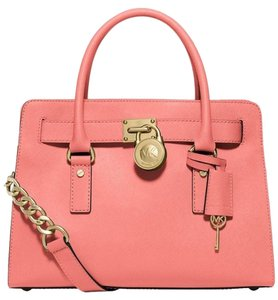 Michael Kors Saffiano Leather Satchel in Grapefruit pink