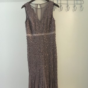 Adrianna Papell Mauve Adrianna Papell Women's Sleeveless Illusion V-neck Beaded Gown Dress