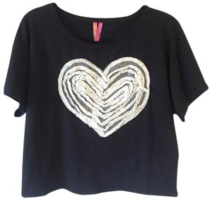 jenni by jennifer moore Lace Heart Casual T Shirt Black