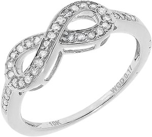 Jewelry Unlimited 10k,White,Gold,Ladies,Round,Pave,Diamond,Infinity,Fashion,Band,Ring,0.17,Ct