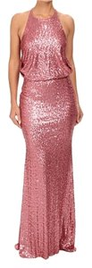 Badgley Mischka Drape Back Sequin Train Dress