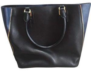 J.Crew Leather Black Navy Tote in Black/Navy