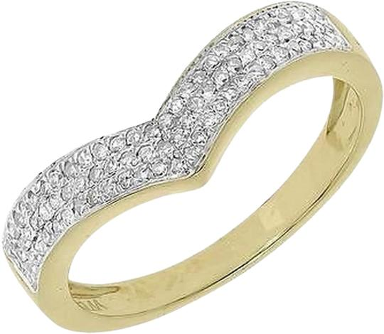 Jewelry Unlimited 10k Yellow Gold Pave Diamond 4mm Chevron Engagement Enhancer Band Ring 0.28 Ct