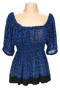 BCBGMAXAZRIA Polka Dot Bcbg Top Blue & Black