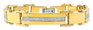 Jewelry Unlimited Mens,Iced,Out,Genuine,Diamond,Yellow,Steel,Slotted,Bar,Arctica,Bracelet,Br8f,2ct