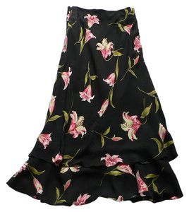 Jones New York Maxi Skirt Black and pink floral