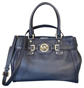 Michael Kors Pebbled Leather Tote in Navy Blue/Gold hardware