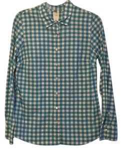 J.Crew Button Down Shirt White and Teal