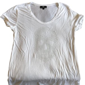 Lewis Olliver T Shirt White with white skull studs