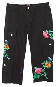 Johnny Was Jw Los Angeles Embroidered Cargo Pants Black with Embroidery
