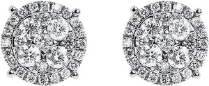 14k White Gold Round Diamond 11mm Prong Cluster Stud Earrings 1.25ct