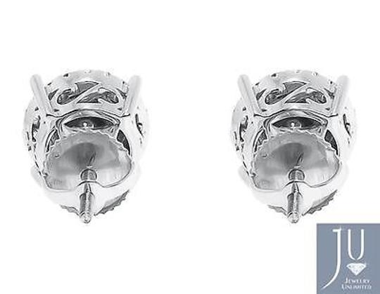 Other 14k White Gold Round Diamond 11mm Prong Cluster Stud Earrings 1.25ct