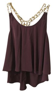 Francesca's Gold Chain Silk Top Eggplant