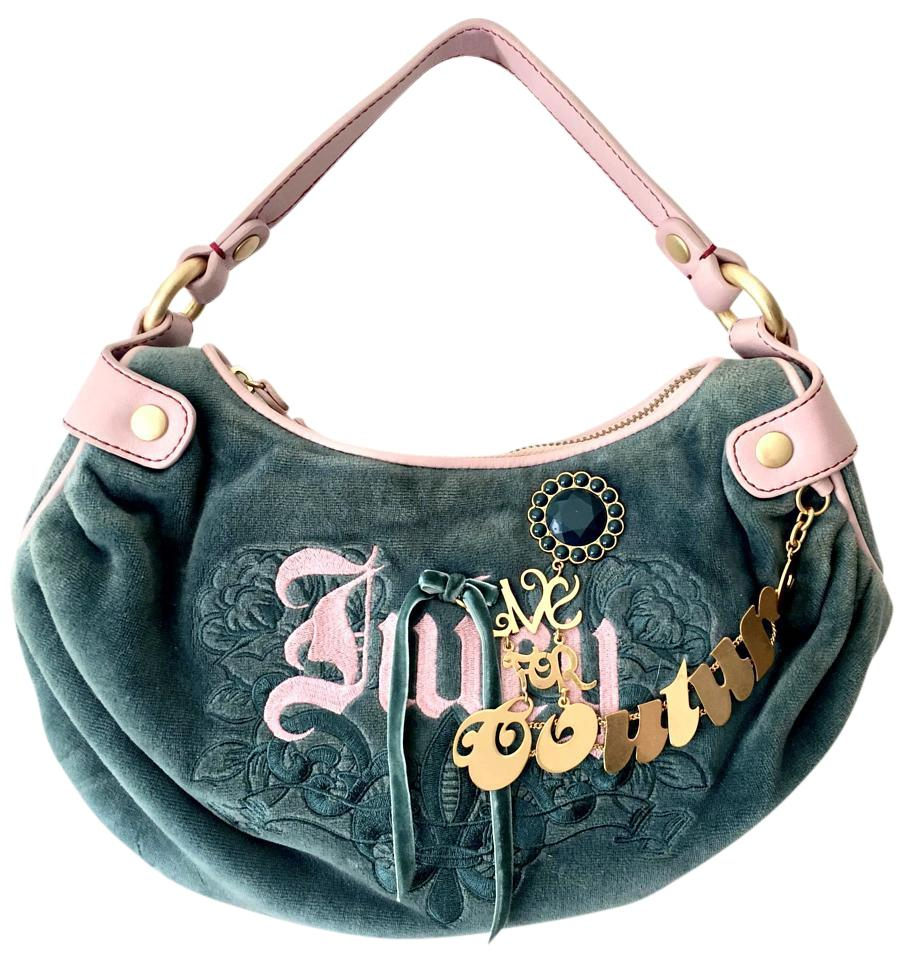 0d8fabc30352 Juicy Couture Live For Small Handbag Emerald Green Pink Velour Hobo ...