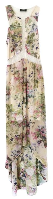 Item - Nude / Lilac / Pink Floral Illusion High-low Casual Maxi Dress Size 4 (S)