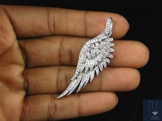 Jewelry Unlimited 10K White Golf Angel Wing Diamond Pendant 2.25 Inches 1.5 Ct Image 1