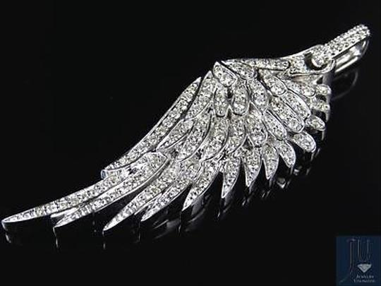 Jewelry Unlimited 10K White Golf Angel Wing Diamond Pendant 2.25 Inches 1.5 Ct Image 2