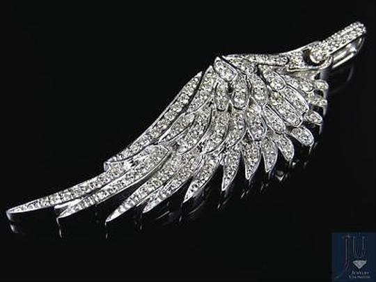 Jewelry Unlimited 10K White Golf Angel Wing Diamond Pendant 2.25 Inches 1.5 Ct Image 4
