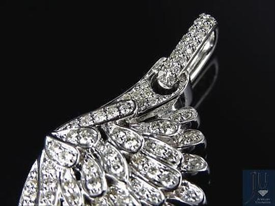 Jewelry Unlimited 10K White Golf Angel Wing Diamond Pendant 2.25 Inches 1.5 Ct Image 6